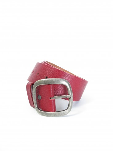 CYLINDER PEBBLED LEATHER BELT