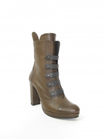 CYLINDER COLLECTION HIGH HEEL BOOTS IN DARK OLIVE