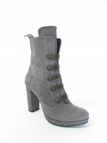 CYLINDER COLLECTION HIGH HEEL SUEDE BOOTS IN CONCRETE GREY