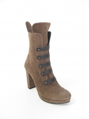 CYLINDER COLLECTION HIGH HEEL SUEDE BOOTS IN SEPIA
